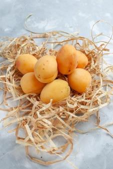 Albicocche fresche dolci frutti mellow su frutta leggera bianca vitamina fresca