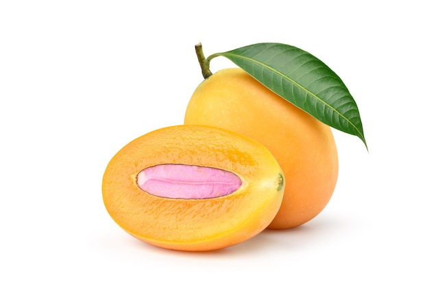 Fresh sweet marian plum with cut in half isolated on white background. clipping path