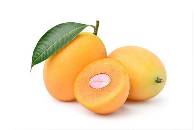 Fresh sweet marian plum with cut in half isolated