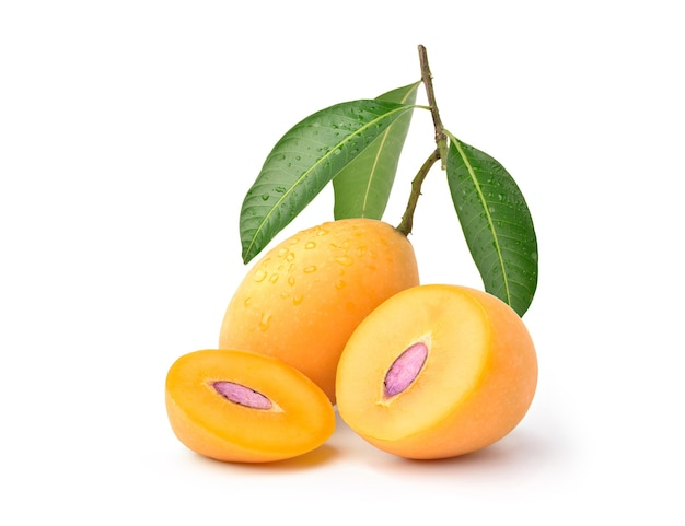 Fresh sweet marian plum with cut in half and leaves isolated
