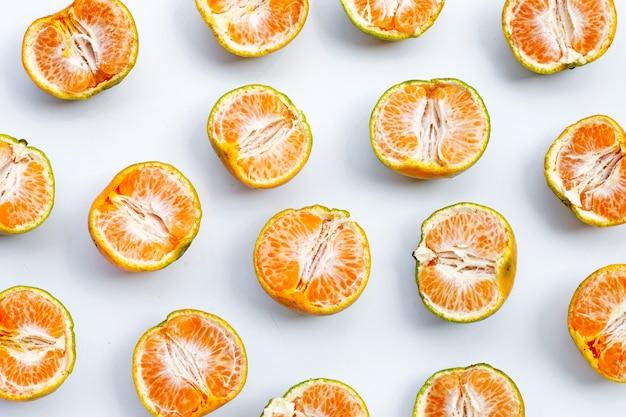 Fresh tangerine orange on white background.