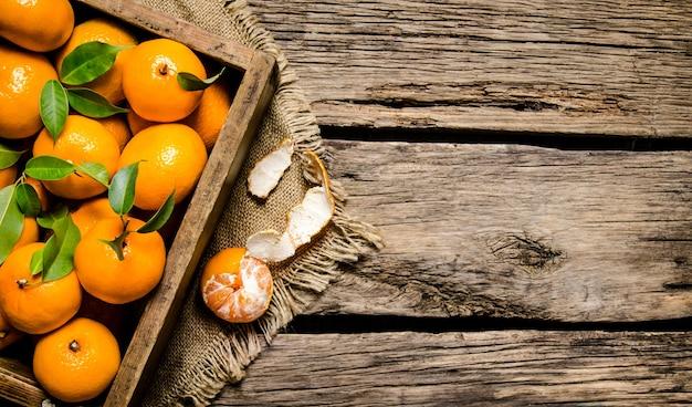 Свежие мандарины в старой коробке с листьями на деревянном столе. вид сверху