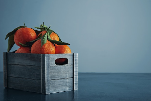Fresh tangerines in old box with leaves isolated on rustic blue table