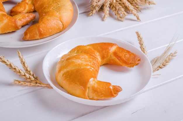 Fresh tasty bagel with filling on white plate on white wooden background