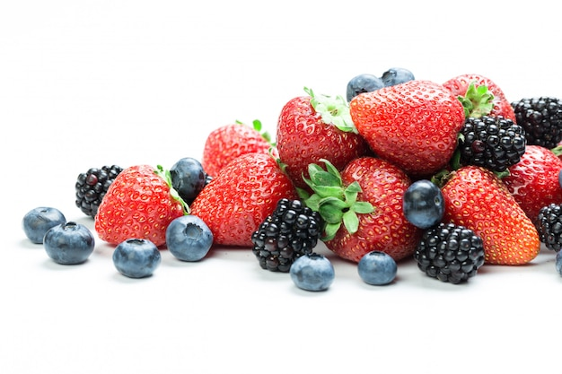 Fresh tasty berry mix isolated