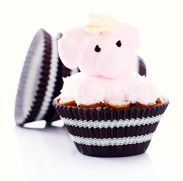 Fresh and tasty cake in the shape of pig