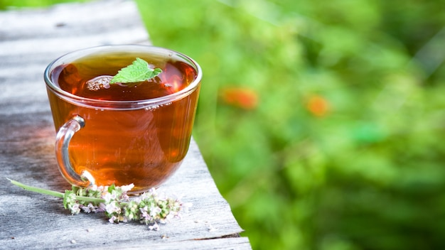 Fresh tasty hot tea with melissa outdoor. medicine healthy