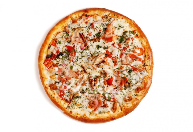 Свежая вкусная пицца на белом фоне