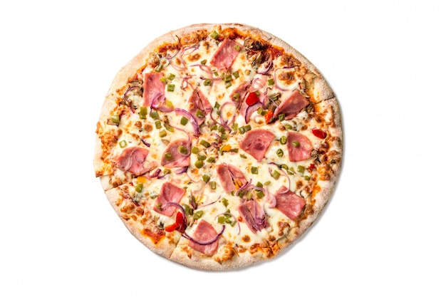 Fresh tasty pizza with cheese, paprika, ham and mushrooms isolated on white .
