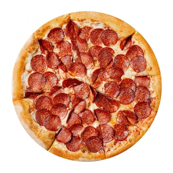 Fresh tasty pizza with pepperoni isolated on white