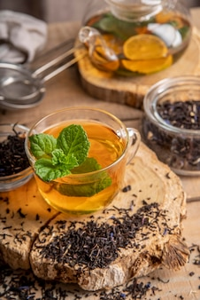 Fresh tea with lemon and mint
