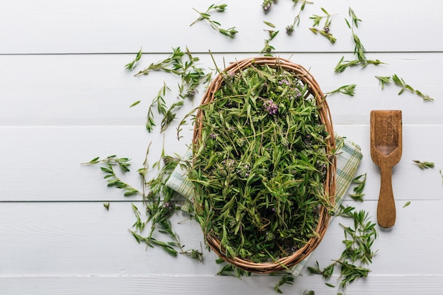 Fresh thyme in a basket on a wooden table