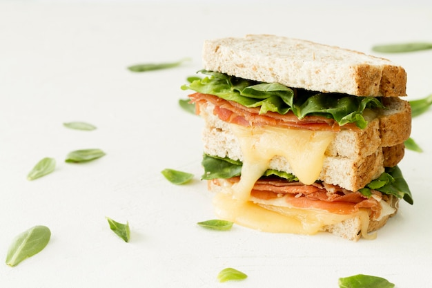 Fresh toast with cheese and vegetables on table