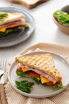 Fresh toasted sandwich with ham, vegetables and cheese for breakfast.
