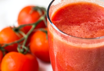 Fresh tomato juice macro shot