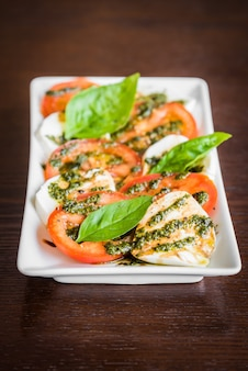 Fresh tomato mozzarella cheese
