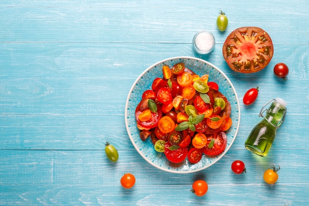 Fresh tomato salad with basil.