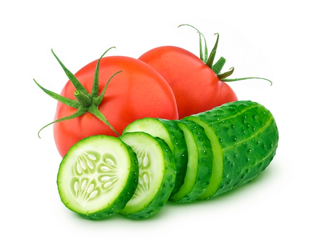 Fresh tomato and sliced cucumber isolated on white