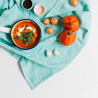 Fresh tomato soup in saucepan