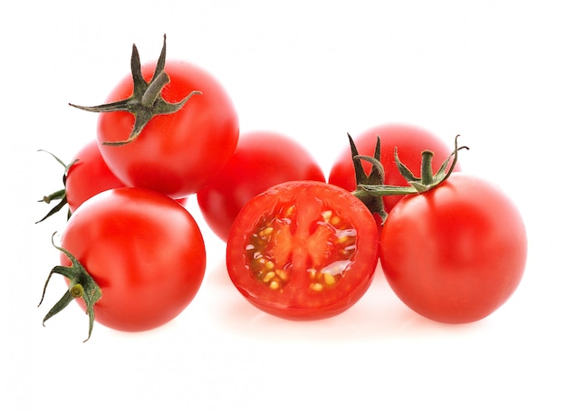 Fresh tomatoes on white background.