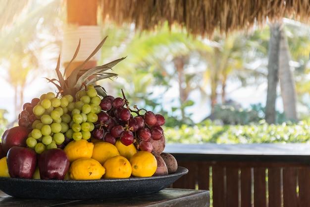 Fresh tropical fruits on tray