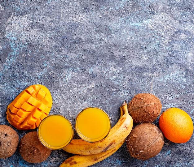 Fresh tropical mix fruit juice