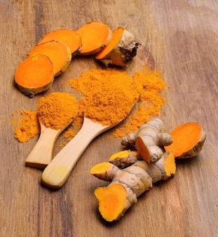 Fresh turmeric roots in wooden spoon on wooden table