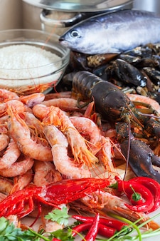 Fresh uncooked sea food specialties
