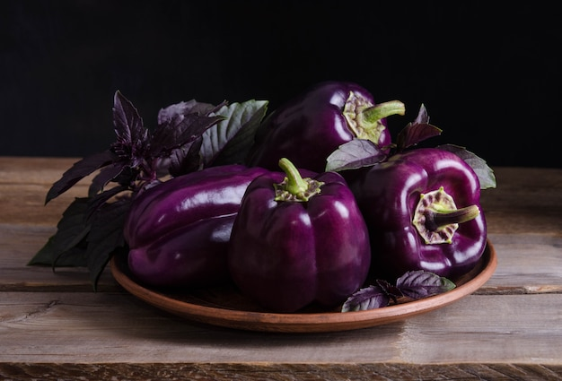 Fresh vegetable. dark purple peppers in the plate with leaves of basil