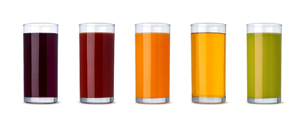 Fresh vegetable and fruit juice in glass isolated on white background with clipping path