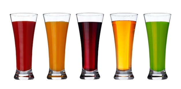 Fresh vegetable and fruit juice in glass isolated with clipping path
