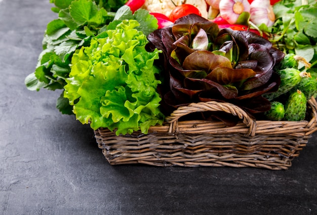 Fresh vegetable mix and greens in the basket