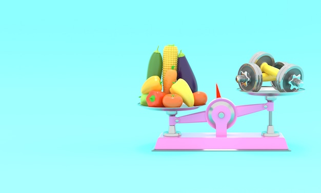 新鮮な野菜とさまざまなスケールのダンベル。 3dレンダリング