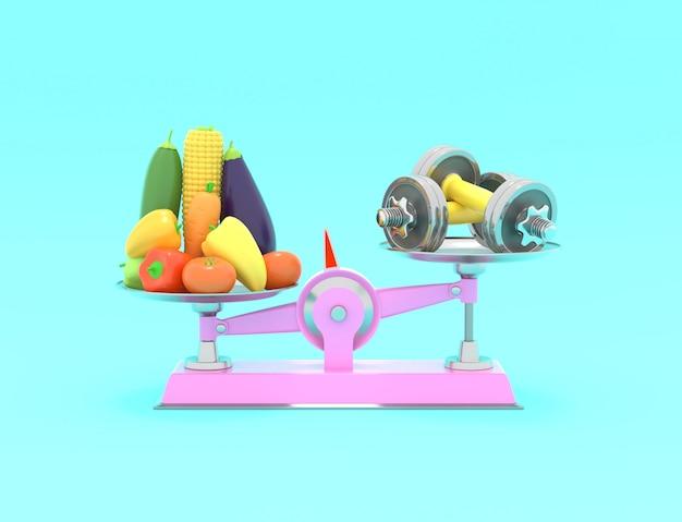 Свежие овощи и гантели в разных масштабах. концептуальная иллюстрация с пустым местом для текста. 3d-рендеринг