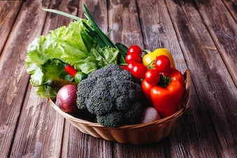 Fresh vegetables and greenery, Healthy life and food. Broccoli, pepper, cherry tomatoes, chili