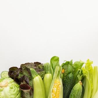 복사 공간 신선한 야채 배열
