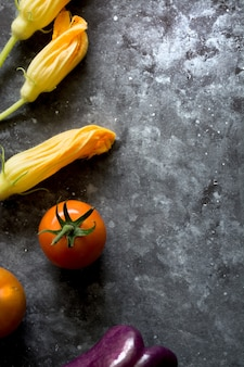 Fresh vegetables on dark background space for text copy space
