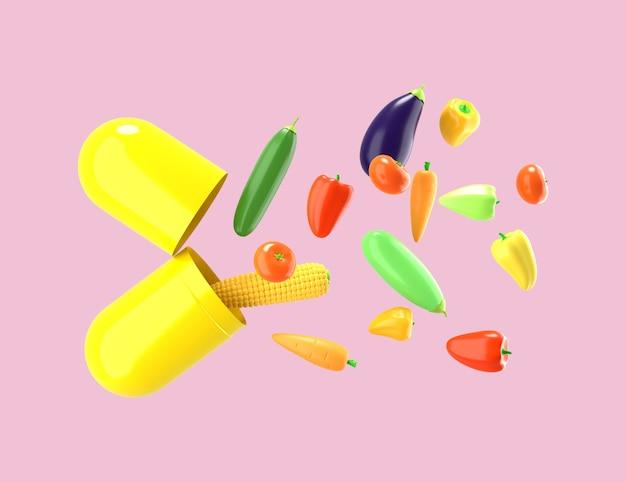新鮮な野菜が錠剤から飛び出す