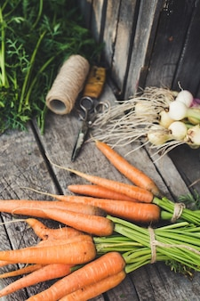 Свежие овощи из сада на деревенском деревянном фоне