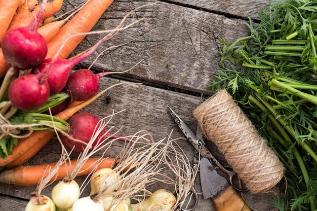 Свежие овощи из сада на деревянном фоне. органические свежие собранные овощи. вид сверху