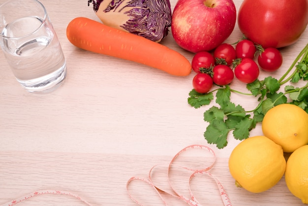 Fresh vegetables, fruits, pure water, healthy food