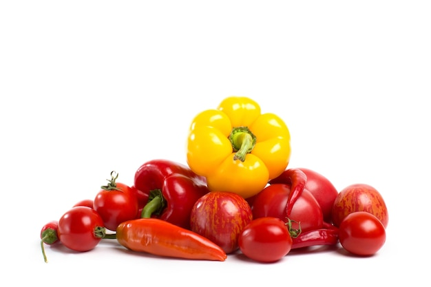 Fresh vegetables. group of peppers, isolated.
