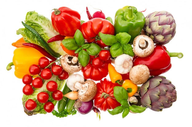 Fresh vegetables and herbs isolated on white