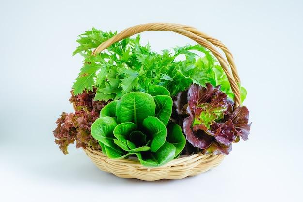 흰색 배경에 바구니에 신선한 야채 프리미엄 사진