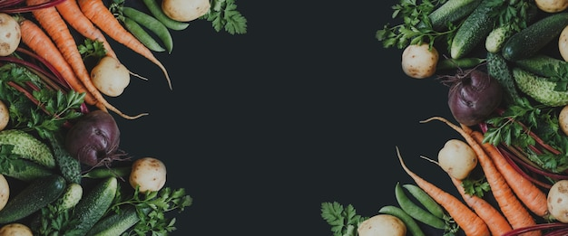 黒の背景に新鮮な野菜バナー上面図テキスト用スペースバイオ健康有機食品