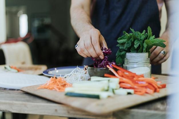 Fresh vegetables prepared for summer rolls