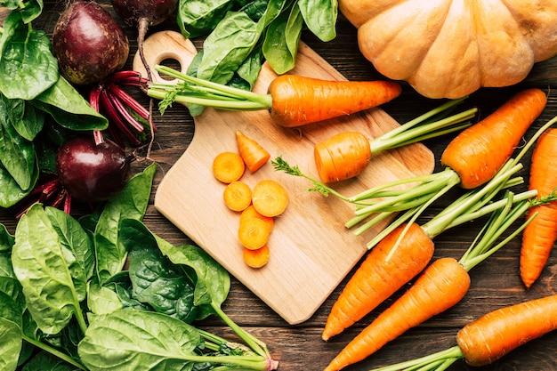 Fresh vegetables, pumpkin, carrots, beets, spinach
