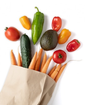 Fresh vegetables in recyclable paper bag