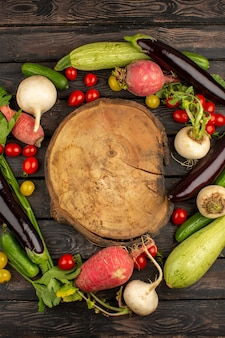 Fresh vegetables ripe colorful on a wooden rustic brown