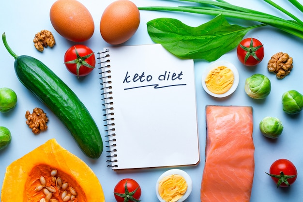 Fresh vegetables, salmon fillets and eggs for healthy, wholesome nutrition. low carb and keto, ketogenic diet concept. fiber, clean, balanced food. diet plan and control food